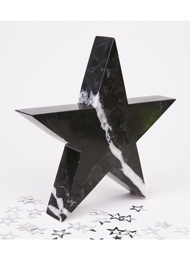 3Wdesign Yıldız Mermer Orta Boy Obje Siyah